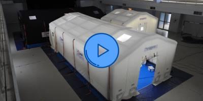 5 minutes de montage pour 150m² d'espace d'intervention